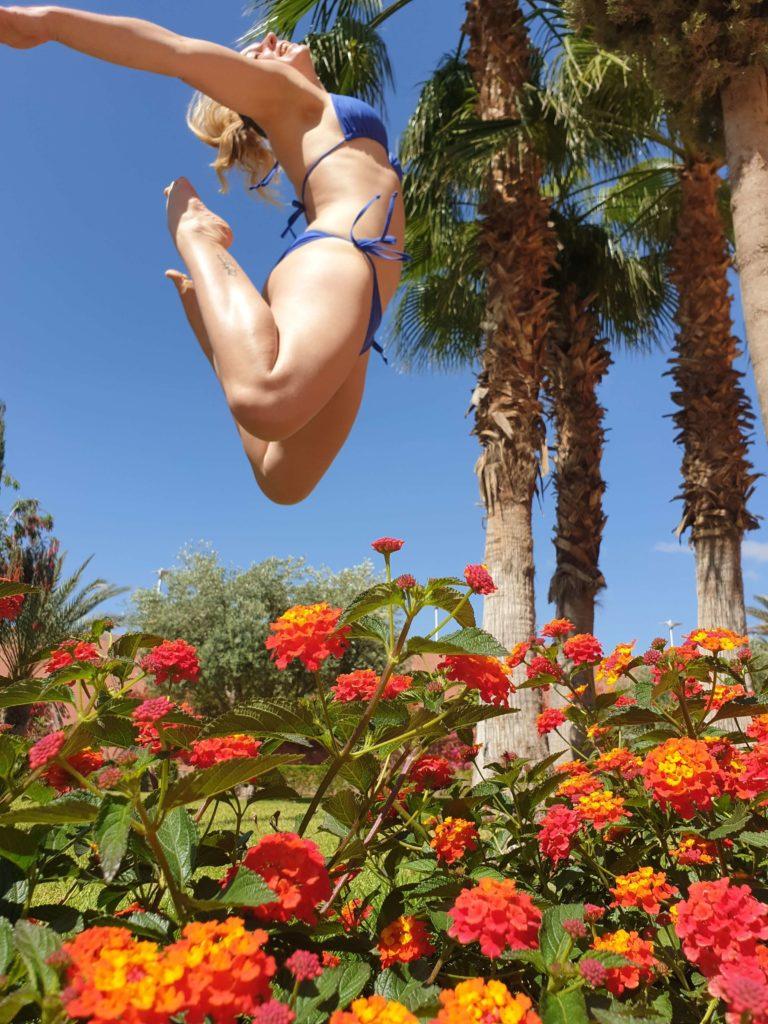 Nina jumps in air